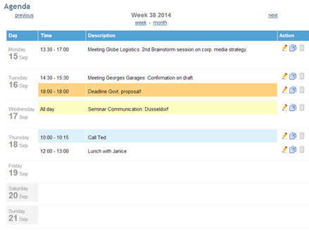 Events and meetings in your online calendar