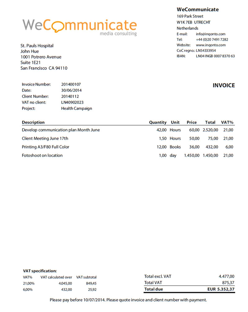 invoice for self employed template
