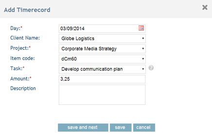 Add Timesheet record